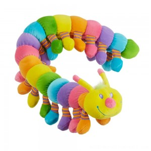Melissa & Doug Longfellow Caterpillar - Rainbow-Colored Stuffed Animal With 32 Floppy Feet (over 2 feet long) - Sale
