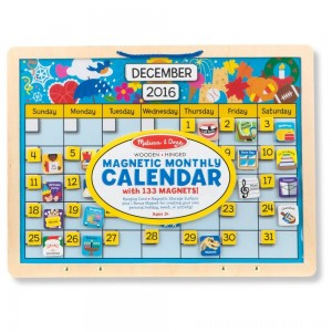 Melissa & Doug Monthly Magnetic Calendar With 133 Magnets and 2 Fabric-Hinged Dry-Erase Boards - Sale