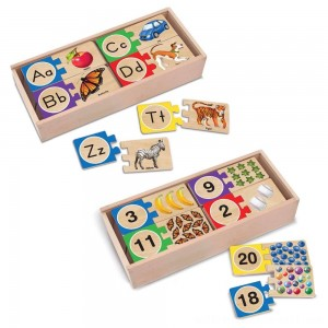 Melissa & Doug Self-Correcting Letter and Number Wooden Puzzles Set With Storage Box 92pc - Sale