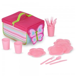 Melissa & Doug Sunny Patch Cutie Pie Butterfly Picnic Set With Basket, Plates, and Utensils - Sale