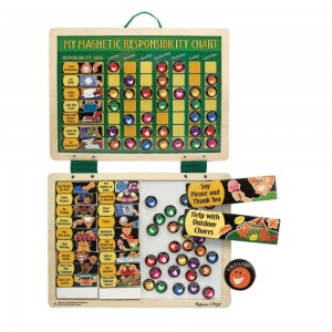 Melissa & Doug Deluxe Wooden Magnetic Responsibility Chart With 90 Magnets - Sale