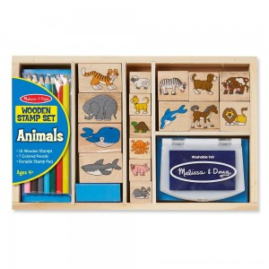Melissa & Doug Wooden Stamp Set: Animals - 16 Stamps, 4 Colored Pencils, Stamp Pad - Sale