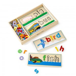 Melissa & Doug See & Spell Wooden Educational Toy With 8 Double-Sided Spelling Boards and 64 Letters - Sale