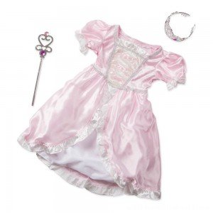 Melissa & Doug Princess Role Play Costume Set (3pc)- Pink Gown, Tiara, Wand, Women's, Size: Small - Sale