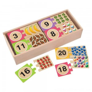Melissa & Doug Self-Correcting Wooden Number Puzzles With Storage Box 40pc - Sale
