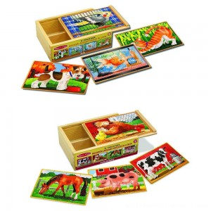 Melissa & Doug Animals 4-in-1 Wooden Jigsaw Puzzles Set - Pets and Farm 96pc - Sale