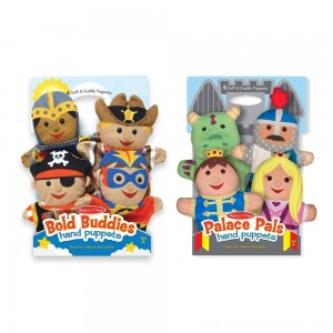 Melissa & Doug Adventure Hand Puppets (Set of 2, 4 puppets in each) - Bold Buddies and Palace Pals - Sale
