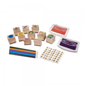 Melissa & Doug Wooden Classroom Stamp Set With 10 Stamps, 5 Colored Pencils, 4 Sticker Sheets, and 2-Colored Stamp Pad - Sale