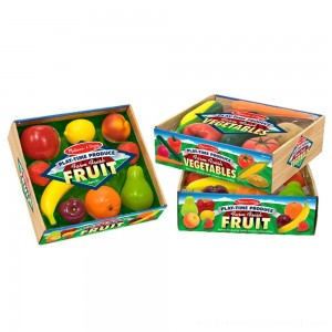 Melissa & Doug Playtime Produce Fruits Play Food Set With Crate (9pc) - Sale