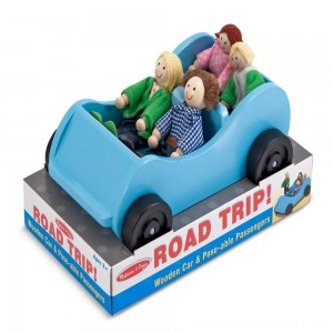 Melissa & Doug Road Trip Wooden Toy Car and 4 Poseable Dolls (4-5 inches each) - Sale