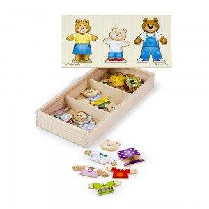 Melissa & Doug Mix 'n Match Wooden Bear Family Dress-Up Puzzle With Storage Case (45pc) - Sale