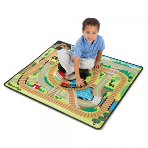 Melissa & Doug Round the Rails Train Rug With 3 Linking Wooden Train Cars (39 x 36 inches) - Sale