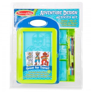 Melissa & Doug Adventure Design Activity Kit: 9 Double-Sided Plates, 4 Colored Pencils, Crayon - Sale