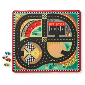 Melissa & Doug Round the Speedway Race Track Rug With 4 Race Cars (39 x 36 inches) - Sale