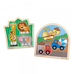 Melissa & Doug Jumbo Knob Wooden Puzzles Set - Construction and Safari 6pc - Sale