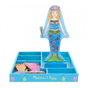 Melissa & Doug Merry Mermaid Wooden Dress-Up Doll and Stand - 35 Magnetic Accessories - Sale