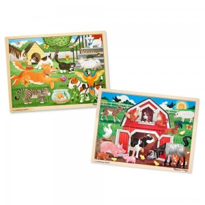 Melissa & Doug Animals Wooden Jigsaw Puzzle Sets - Pets and Farm 24pc each, 48pc - Sale