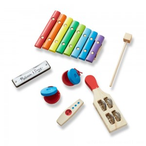 Melissa & Doug Band-in-a-Box Hum! Jangle! Shake! - 7-Piece Musical Instrument Set - Sale