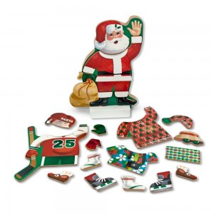 Melissa & Doug Santa Wooden Dress-Up Doll and Stand With Magnetic Accessories (22pc) - Sale
