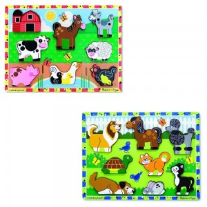 Melissa & Doug Wooden Chunky Puzzles Set - Farm and Pets 16pc - Sale