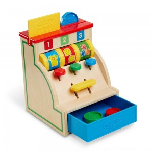 Melissa & Doug Spin and Swipe Wooden Toy Cash Register With 3 Play Coins and Pretend Credit Card - Sale